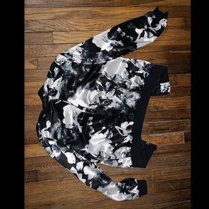 Black & White w Gray Satin Bomber Jacket